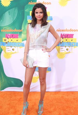 Selena Gomez at Nickelodeons 24th annual Kids Choice Awards at Galen center on April 2, 2011