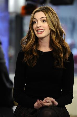Anne Hathaway appearing on the Today Show on April 7, 2011
