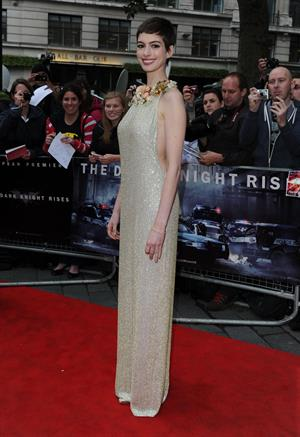 Anne Hathaway the Dark Knight Rises premiere in London on July 18, 2012