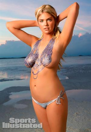 2013 Sports Illustrated Swimsuit Edition.  Kate Upton in body paint in Antarctica
