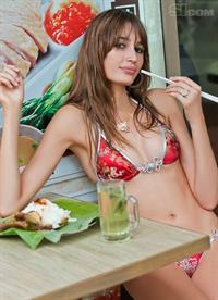 Kenza Fourati in a bikini