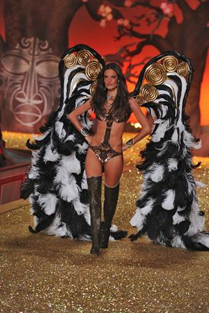 Alessandra Ambrosio runway at a Victoria's Secret Fashion show in 2010