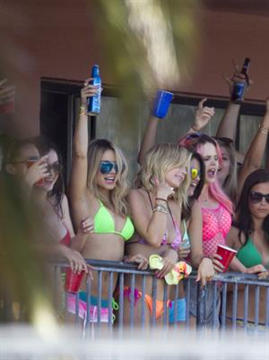 Selena Gomez, Vanessa Hudgens and Ashley Benson on the set of Spring Breakers on March 21, 2012