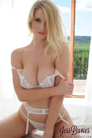 Jessica Davies - white lingerie photoshoot on a bed