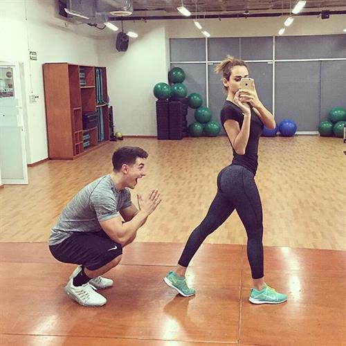 Yanet Garcia in Yoga Pants taking a selfie and - ass
