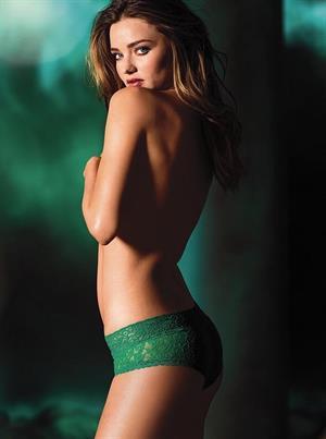 Miranda Kerr Topless in Sexy Green Lingerie