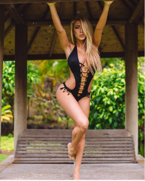 Valeria Orsini in Black One-Piece