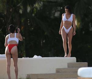 Kim Kardashian in white bikini in Mexico