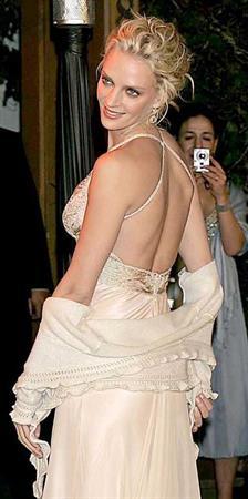 Uma Thurman in a white dress