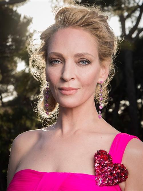 Uma Thurman in a pink dress - amfAR