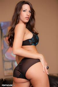 Kortney Kane in green and black lingerie