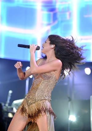 Selena Gomez performing at the Gexa Energy Pavillion in Dallas August 31, 2011