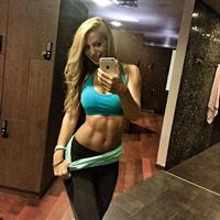 Yanita Yancheva in Yoga Pants taking a selfie