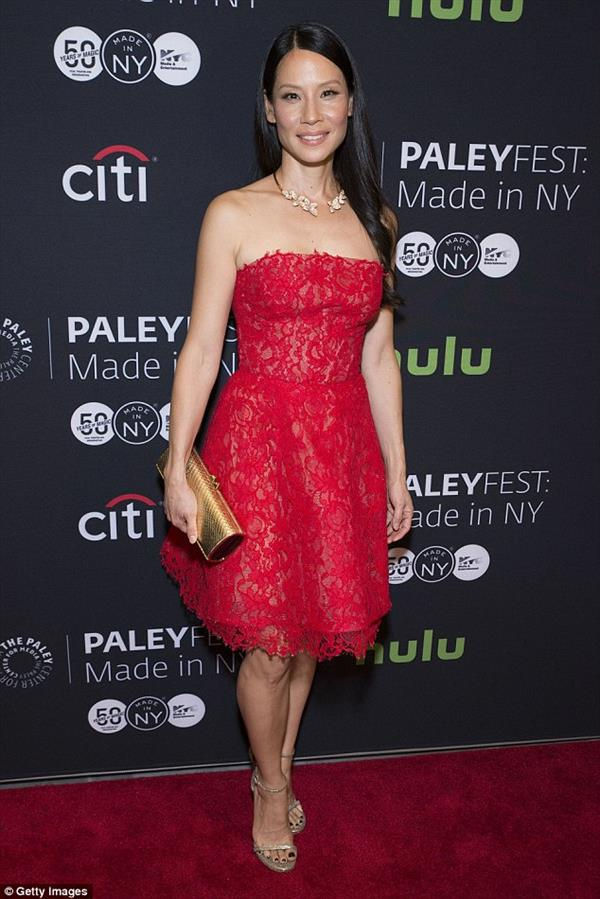 Lucy Liu in red lacey dress