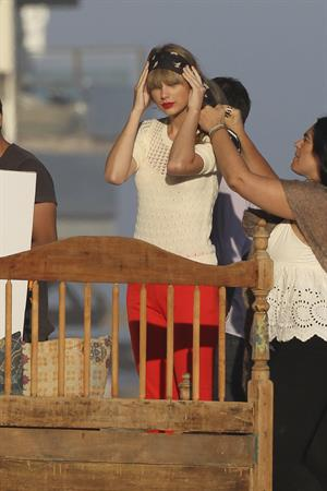 Taylor Swift on the set of a photoshoot in Malibu July 24, 2012