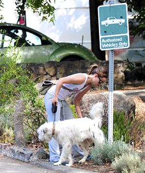 Olivia Wilde walking her dog in the Hollywood Hills on June 24, 2011