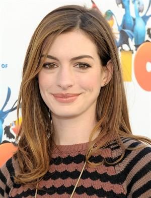 Anne Hathaway 20th Century Fox press day for Rio at Zanuck Theater January 28, 2011