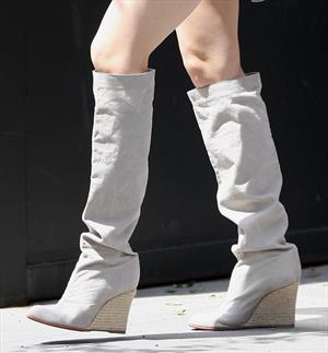 Jessica Biel in shortsboots leaving her apartment in New York City on May 1