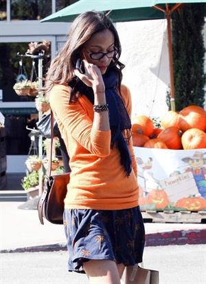 Zoe Saldana rushed to her car in Los Angeles, CA - November 5-2011