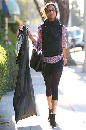 Zoe Saldana shops at Chanel in Beverly Hills December 5, 2012