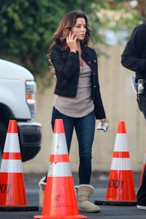 """Eva Longoria – """"Any Day"""" set candids in LA 11/4/13"""