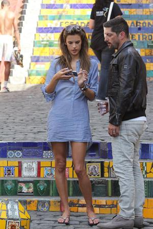 Alessandra Ambrosio on set of a photoshoot in Rio de Janeiro on July 30, 2011