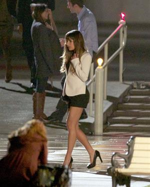 Lea Michele  Filming night scene in Downtown LA - September 20, 2012