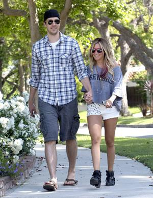 Ashley Tisdale walking around Toluca Lake May 5, 2012