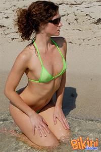 Amber O'Neil for bikinidream.net (Green see through bikini)