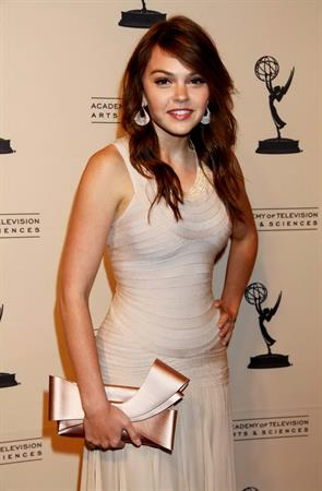 Aimee Teegarden 63rd Primetime Emmy Writers Nominee Reception at Leonard H. Goldenson Theatre on September 15, 2011