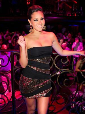 Adrienne Bailon at LAX lounge in Las Vegas