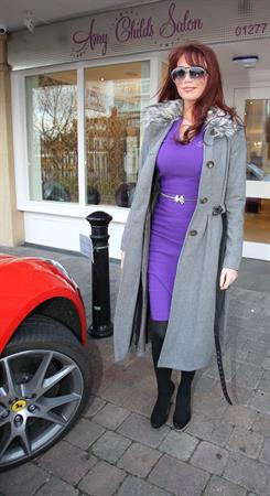 Amy Childs outside her salon on January 11, 2012