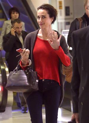 Andie MacDowell arriving on a flight at LAX airport December 7, 2012