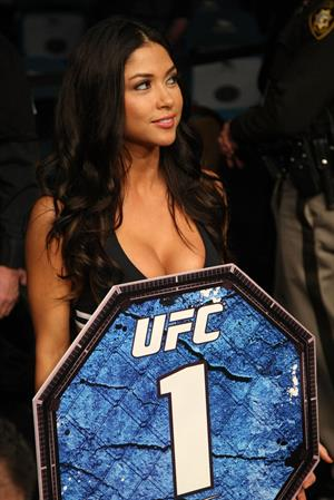 Arianny Celeste carrying the Round 1 sign at UFC 141 Lesnar vs Overeem in Las Vegas Vevada Dec 31, 2011