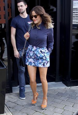 Caroline Flack leaving hotel Liverpool on July 20, 2012