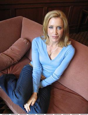 Felicity Huffman Photoshoot in blue shirt