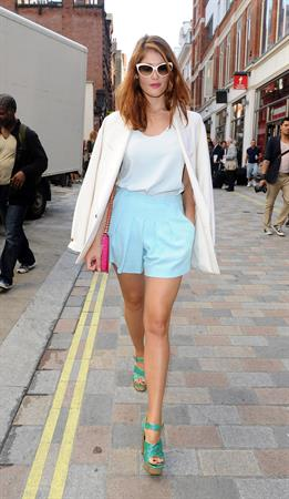 Gemma Arterton arriving at Somerset House for London Fashion Week - September 15, 2012