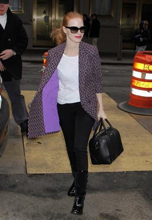 Jessica Chastain arriving at the Walter Kerr Theatre in New York - February 6, 2013