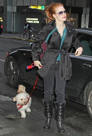 Jessica Chastain with her dog Chaplin arriving to the Walter Kerr Theatre in New York City December 27, 2012