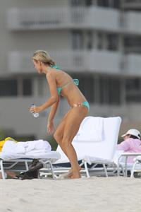 Joanna Krupa bikini candids on the beach in Miami 1/1/13
