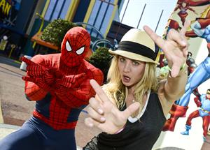 Kaley Cuoco - Hanging with Spiderman at Universal Orlando 02.09.12