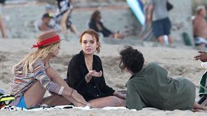 Lindsay Lohan - arriving to the beach in Malibu - August 12, 2012