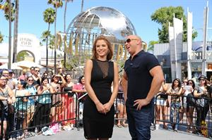 Maria Menounos on the set of Extra in LA on April 9, 2013