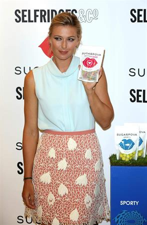 Maria Sharapova poses at a Photocall to launch her new range of Candy 'Sugarpova' at Selfridges June 20, 2013