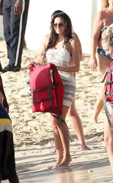 Michelle Keegan beach candids in Barbados December 30, 2011