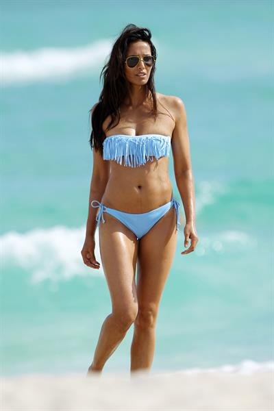 Padma Lakshmi in a bikini on the beach in Miami, Florida - December 8, 2012