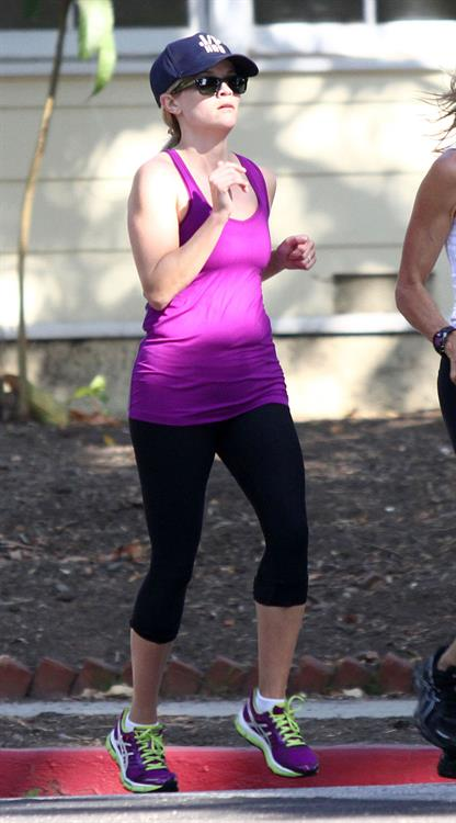 Reese Witherspoon - Jogs with a friend in Brentwood (29.05.2013)