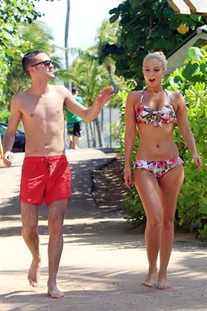 Tulisa Contostavlos in a bikini on the beach in Honolulu July 31, 2012