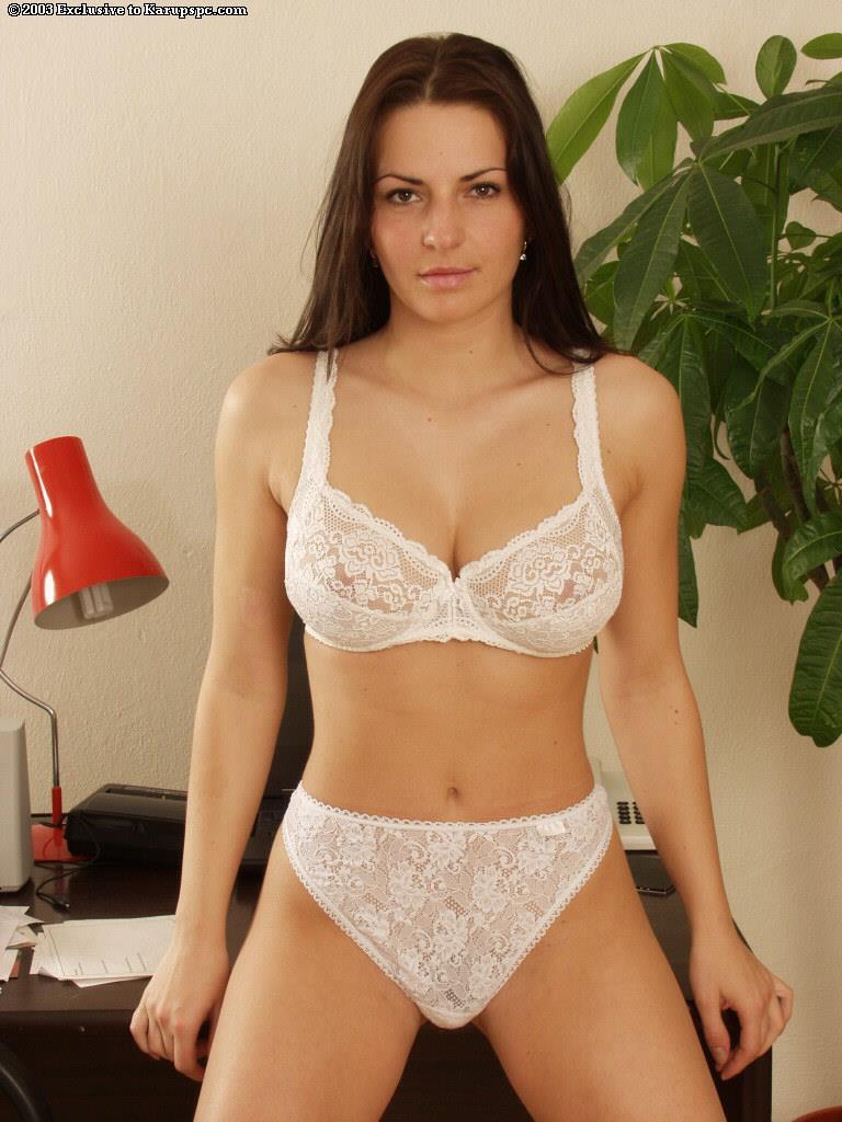 Andrea Krumlova in lingerie - breasts