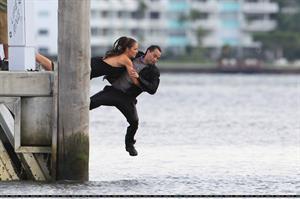 Minka Kelly films Charlie's Angels on a beach in Miami 02-09-2011